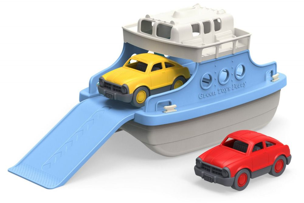 Two Storey Ferry Boat Two Toy Cars Bath Water Kids Child Green ...
