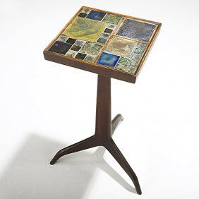 28864301faaf EDWARD WORMLEY  DUNBAR  TIFFANY  Exceptional mahogany Janus side table with Tiffany  Favrile glass tiles and brass sabots
