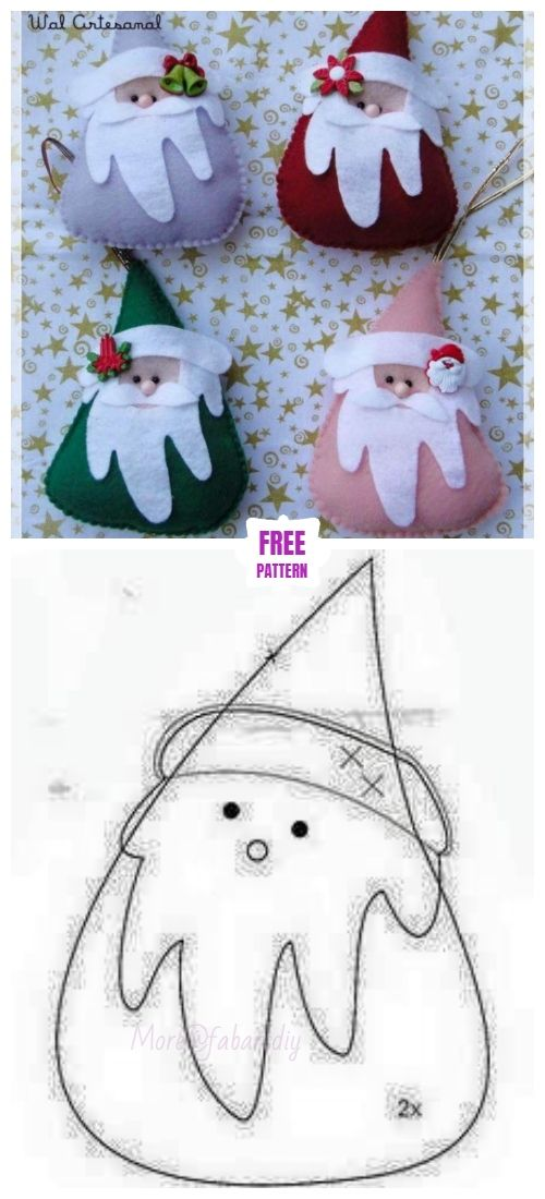 Christmas Craft: DIY Felt Santa Clause Ornament Free Sew Patterns ...