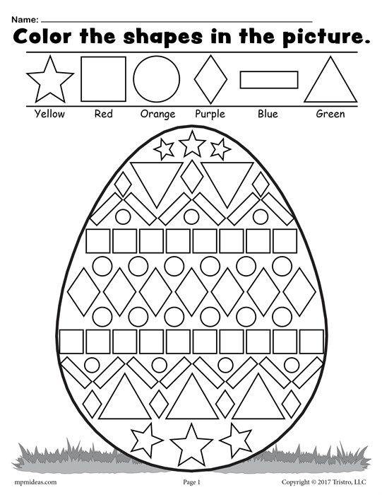 Easter Egg Shapes Worksheet & Coloring Page Easter