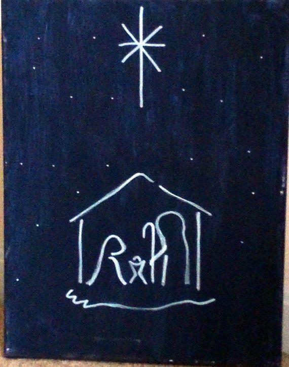 einfache weihnachtsnacht leinwand malerei von handmadeamdg. Black Bedroom Furniture Sets. Home Design Ideas