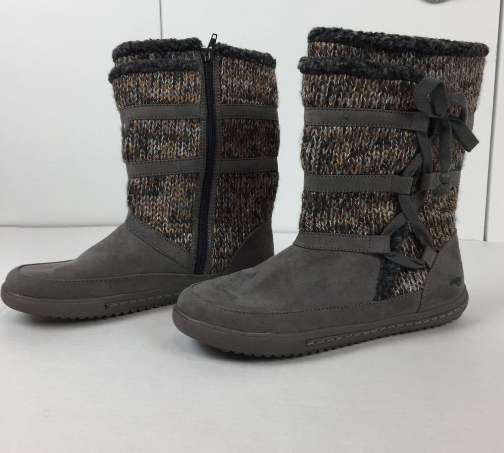 7dce900f65c Rocket Dog 720 Boots Zip Up Knit Ankle Winter Gray Brown Womens Size ...