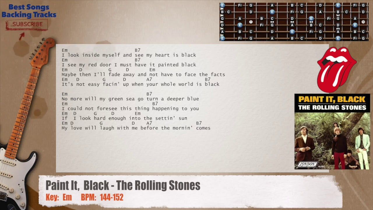 Paint It Black The Rolling Stones Guitar Backing Track With Chords