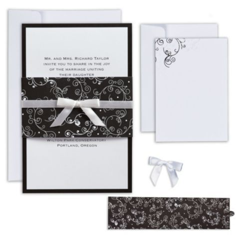 Black White Scroll Printable Wedding Invitations Kit Party – Party City Invitation Printing