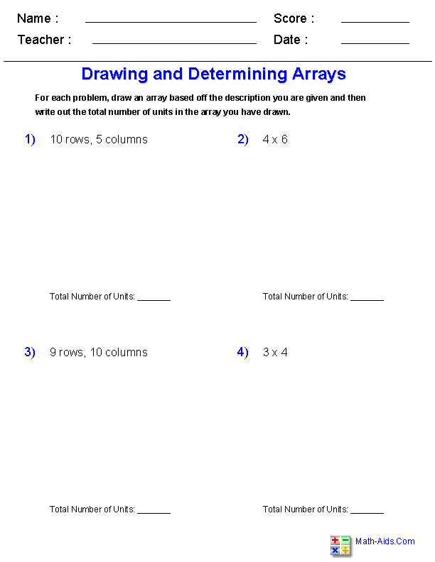 Drawing and Determining<br>with Arrays Worksheets | jojo school ...