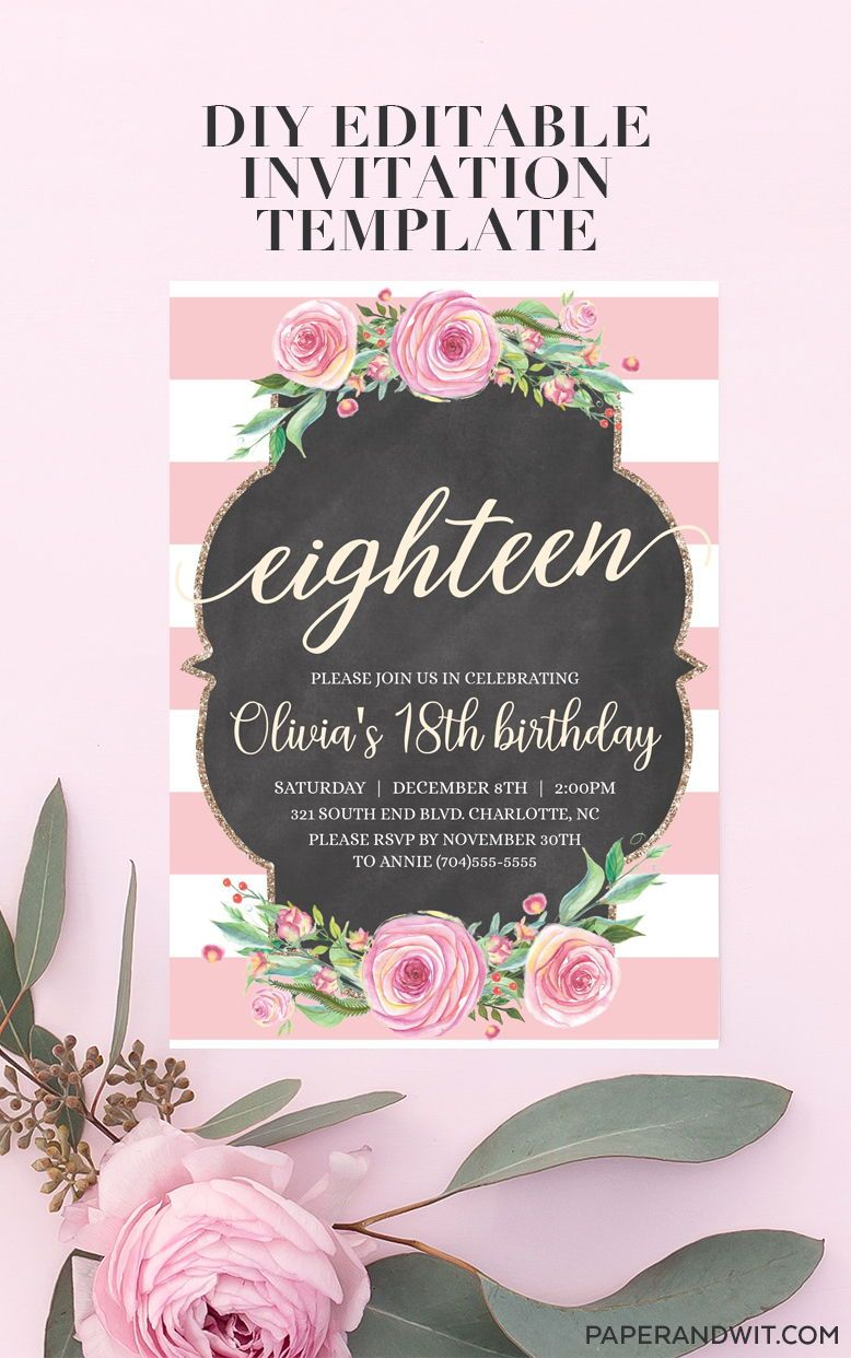 18th birthday invitations girl 18th