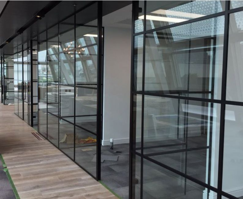 Industrial Style Black Framed Partition Glass Partition