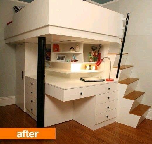 habitacion moderna cama closet y escrorio