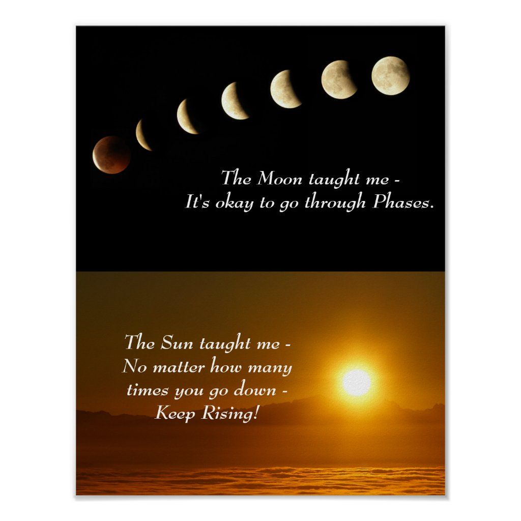 Moon Phases Sunrise Inspirational Quote Poster Zazzle Com In 2020 Inspirational Quotes Posters Quote Posters Moon Quotes