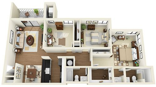 3bedroom 2bath 3d Floor Plan Small House Inspiration House Plans For Sale House Plans