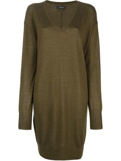 'Green cashmere and silk 'Travis' sweater dress from Isabel Marant featuring a ribbed v-neck, long sleeves, a ribbed hem and cuffs and a mid-length.'