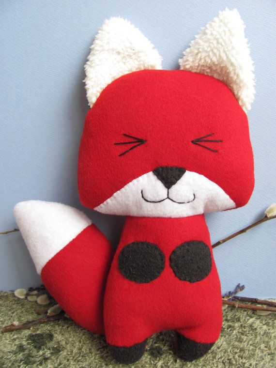 Ecofriendly Upcycle Red Fox Plush Stuffed Animal Toy by mypetmoon
