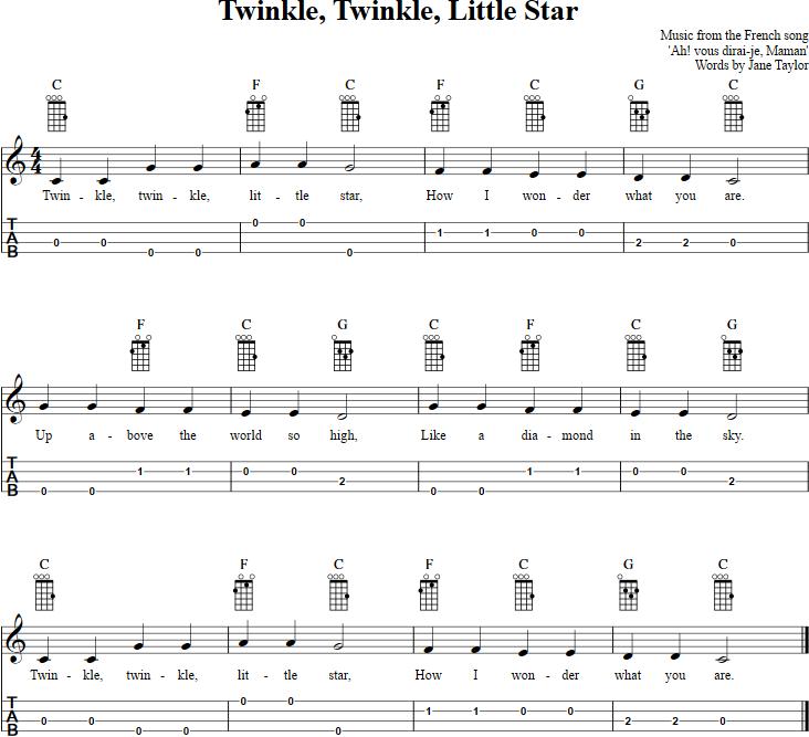 Twinkle, Twinkle, Little Star Ukulele : Music : Pinterest : Twinkle twinkle, Ukulele tabs and ...