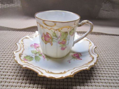 Flambeau Limoges France Demitasse Cup Saucer Set