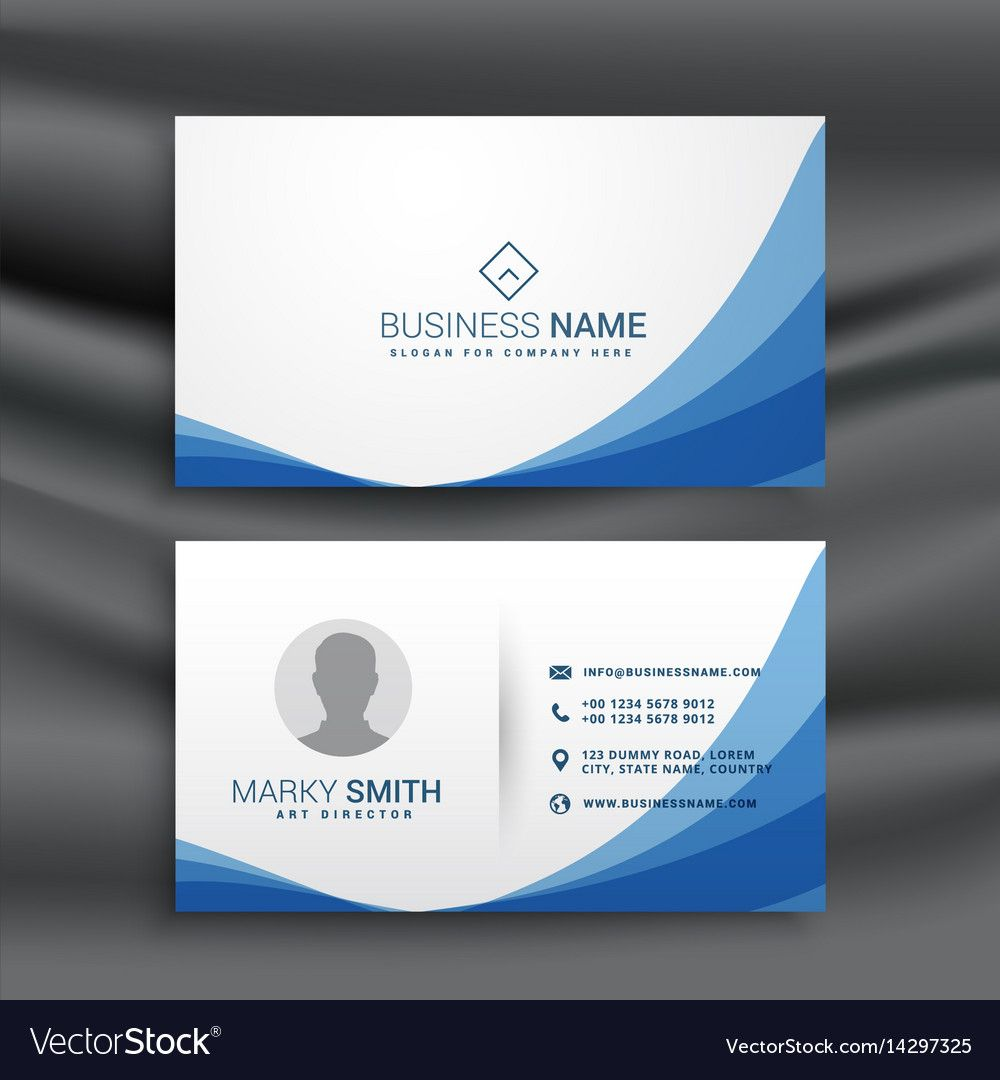 Blue Wave Simple Business Card Design Template Pertaining To Visiting Card Illustrato Visiting Card Design Psd Business Card Design Simple Visiting Card Design