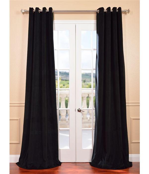 Signature Warm Black Grommet Blackout Velvet Curtains Half Price