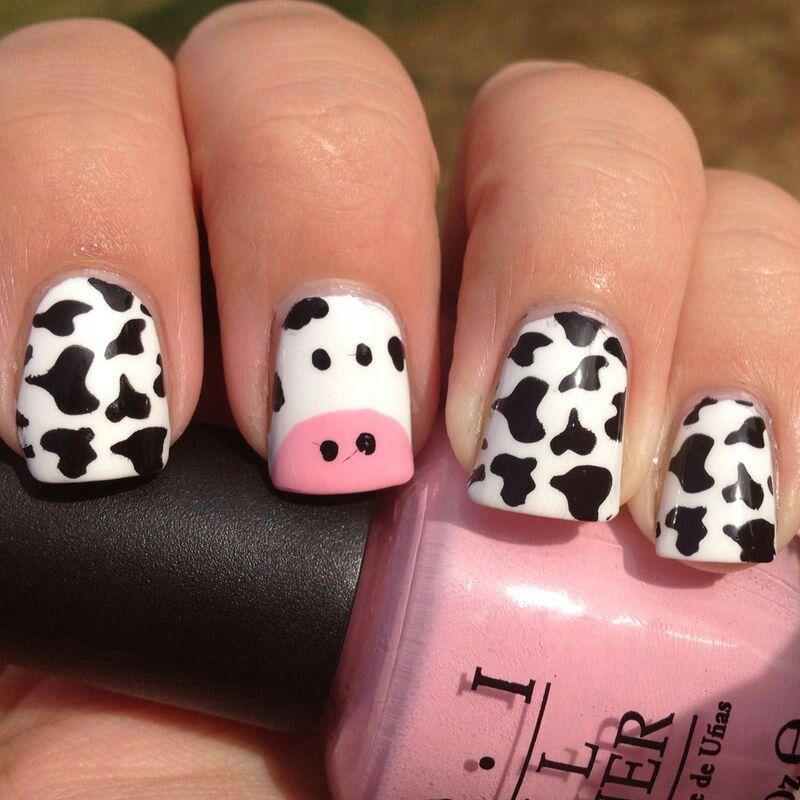 Cow Nail Art Nails Fancy Nails Cow Nails
