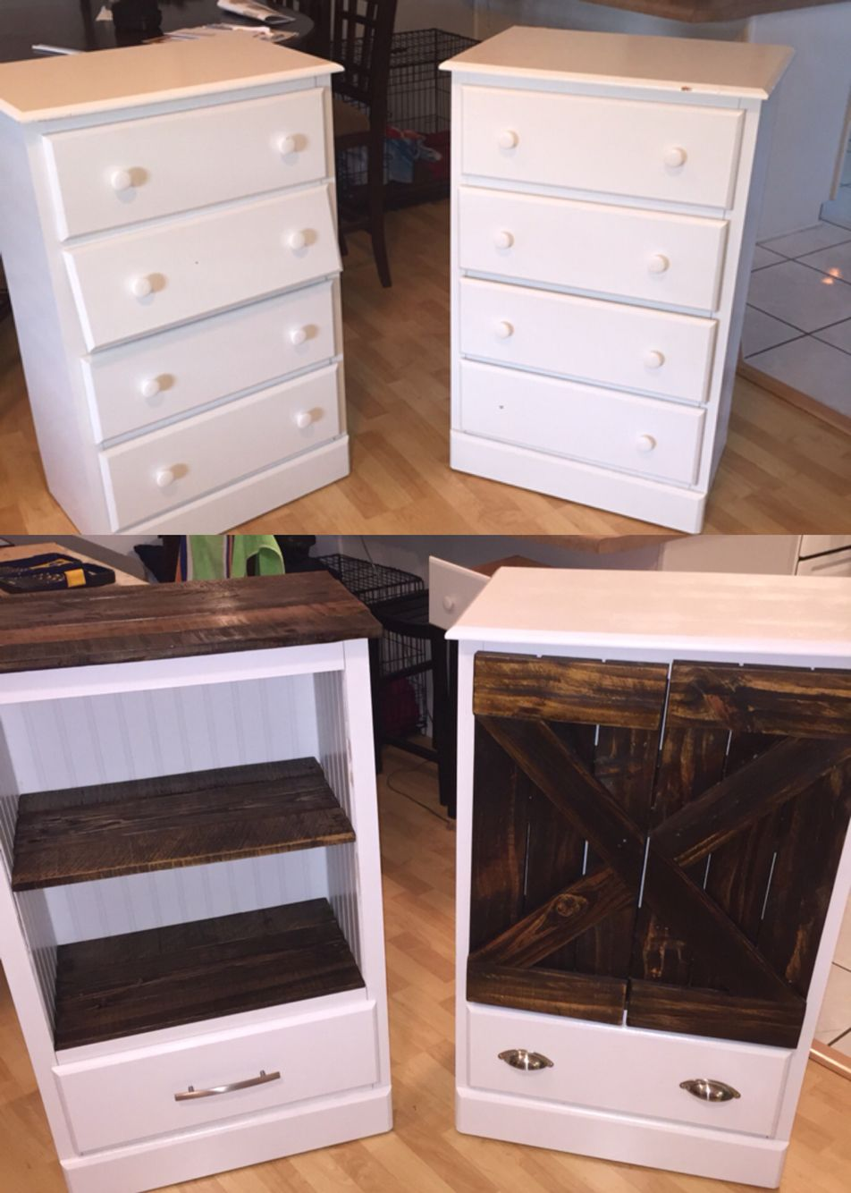Before and after on a craigslist find. Doors and shelves