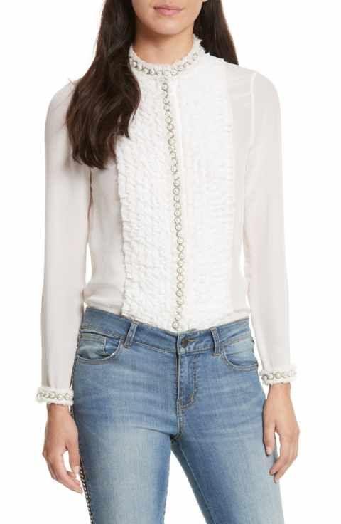 71799f23a63b2 Alice + Olivia Arminda Embellished Ruffle Shirt