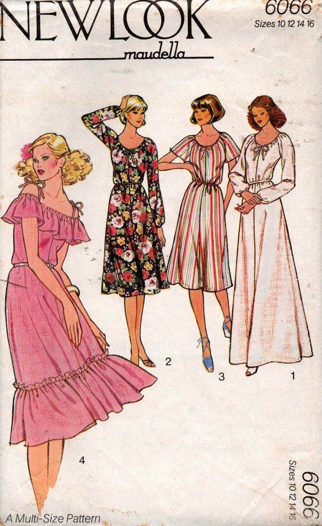 New Look 6066 Maxi or Peasant Dress 70s vintage sewing