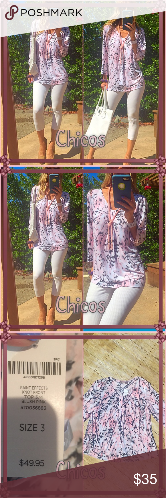 💐Rej💐 This brand new with tags floral pink splash is sure you make you feel fabulous on any day!. It's so pretty. Just delicious ladies, don't miss it💐💐💐💐💐💐 Chico's Tops Blouses