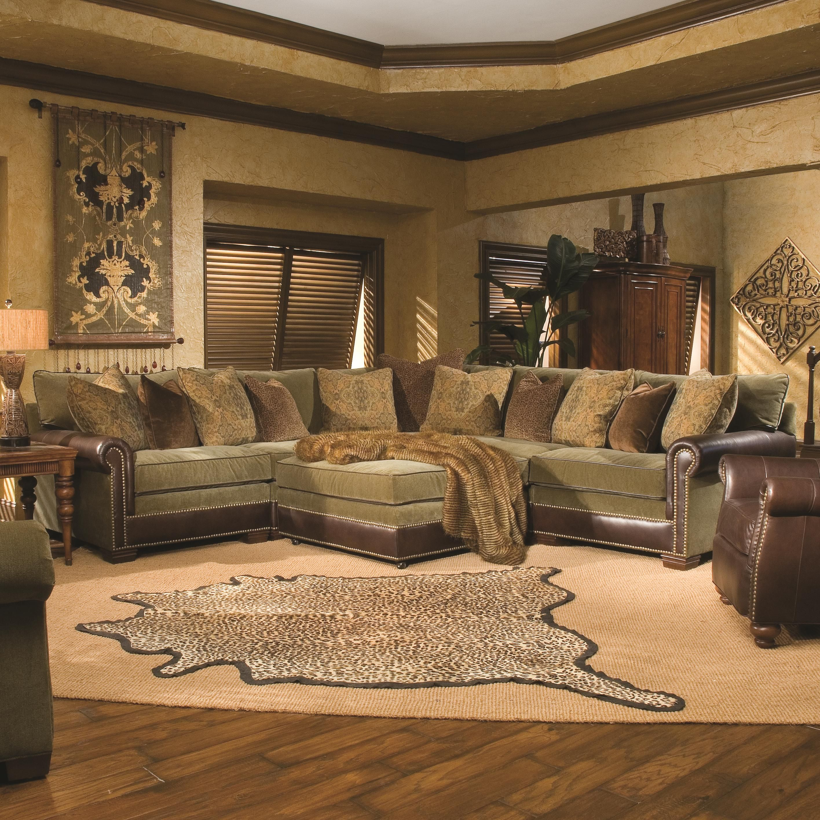 7107 Traditional Sectional Sofa With Nailhead Trim By Huntington