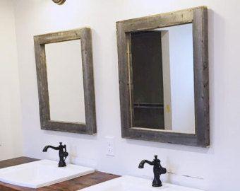 High Quality 2 Reclaimed Wood Mirrors Size 28 X 34   Rustic Bathroom Mirror Set