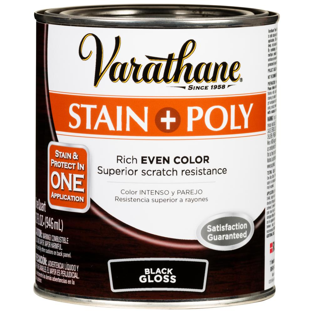 Varathane 1 Qt Black 450 Gloss Oil Based Interior Stain And Polyurethane 2 Pack 349570 Interior Stains Gel Stain