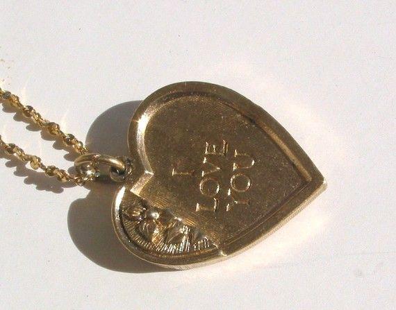 vintage, Avon, little orphan annie, heart pendant, with gold chain