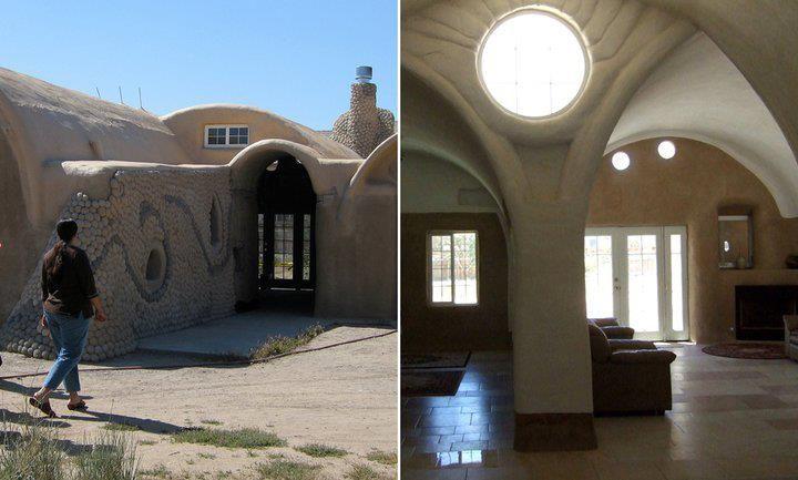 earthbag buildings at cal earth in the mojave desert in california