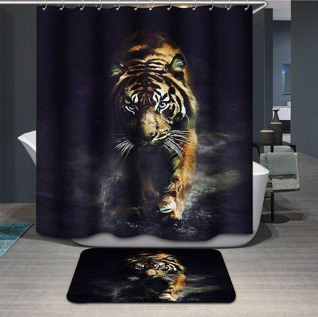 Leopard Shower Curtain 3d Modern Fabric Creative Zebra Bath