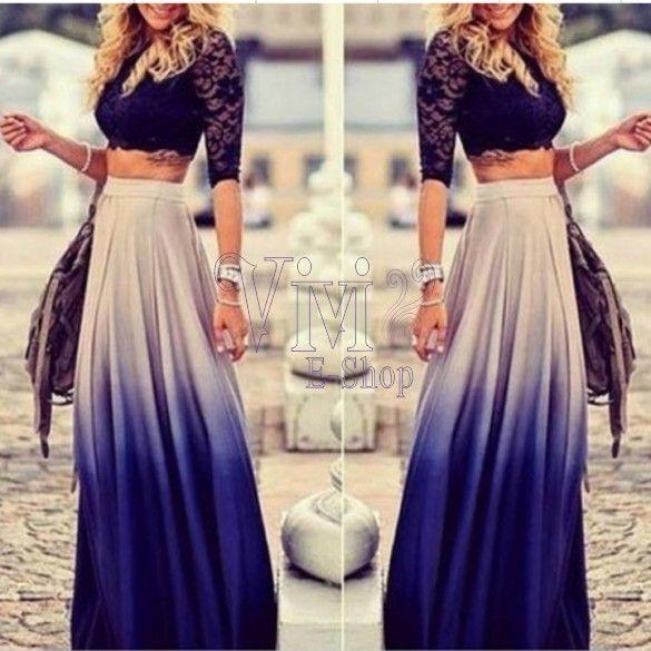 0574228211 vestidos de dos piezas falda larga y blusa corta - Buscar con Google ...