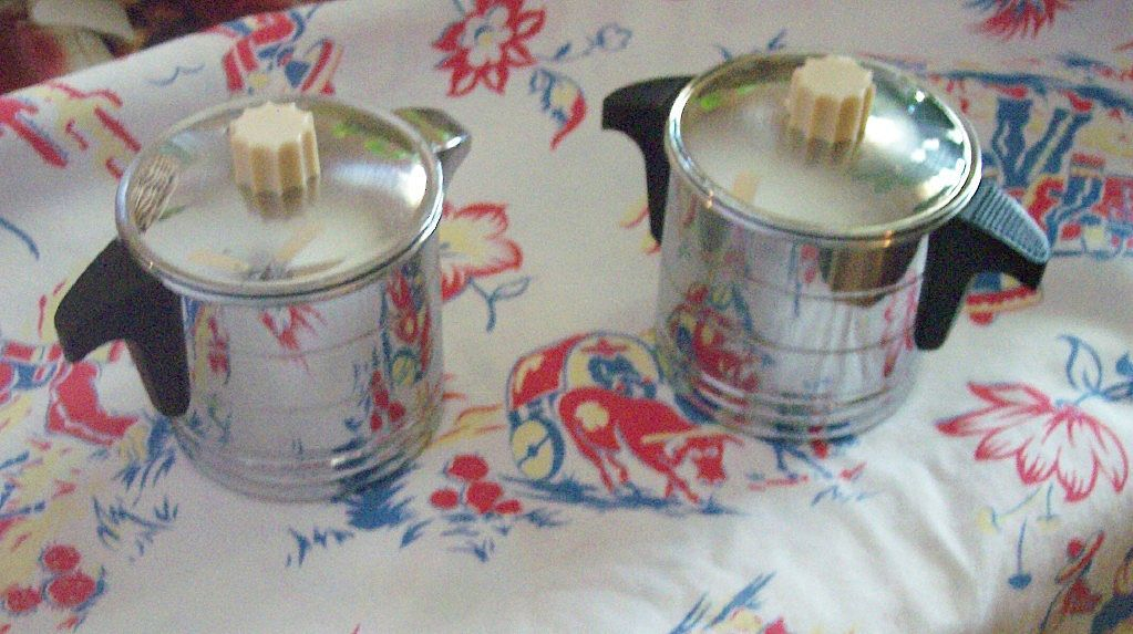 Vintage Chrome and Bakelite Creamer and Sugar Bowl Set Marked GENERAL ELECTRIC HOTPOINT