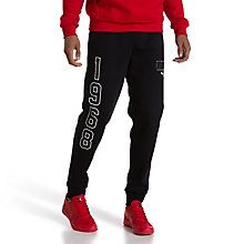 Style Athletic Men's Sweatpants: Step up your look with these cuffed athletic sweatpants from PUMA.   Ribbed waistband with bicolour drawcord.   Cut and sew back yoke for an improved fit.   Side-seam pockets.   Elasticated trim at closed pant legs.   Cotton and polyester.   Our model Vincent is 1.88m tall and a size M.