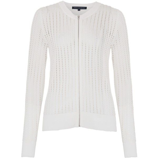French Connection Pointelle Zip Through Cardigan, Summer White ...
