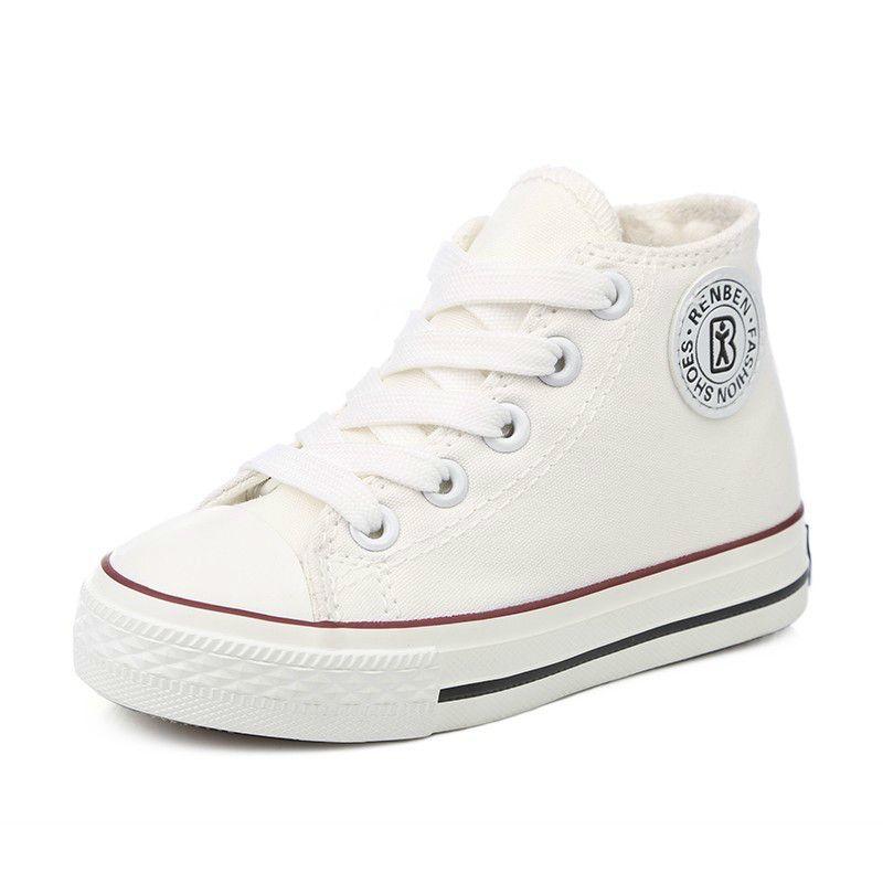 Kids Sneaker Shoes For Boys  amp  Girls 2018 White High Cut Canvas Fashion Children  Shoes e193d5d958db