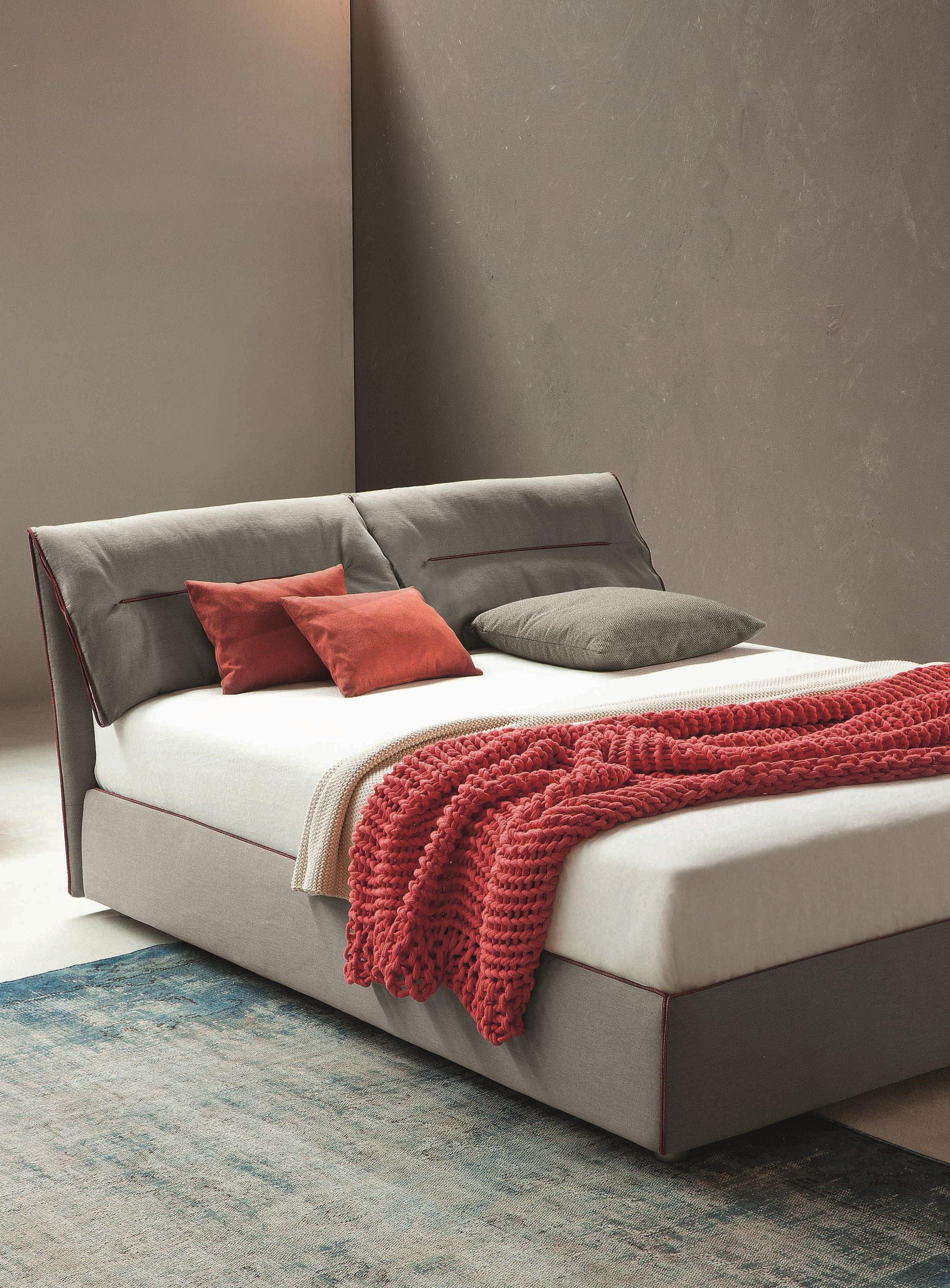 Double bed with removable cover with upholstered headboard campo by