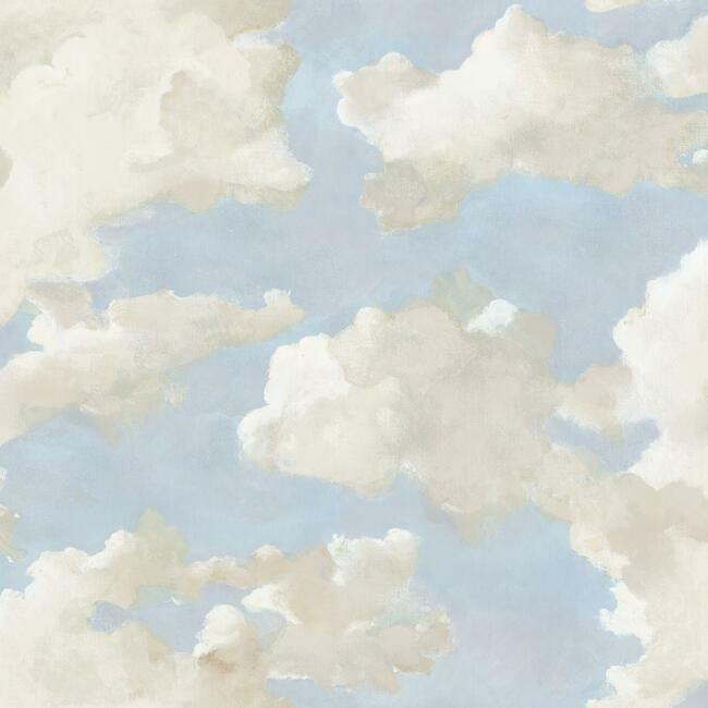Clouds on Canvas Peel & Stick Wallpaper in Blue by York Wallcoverings