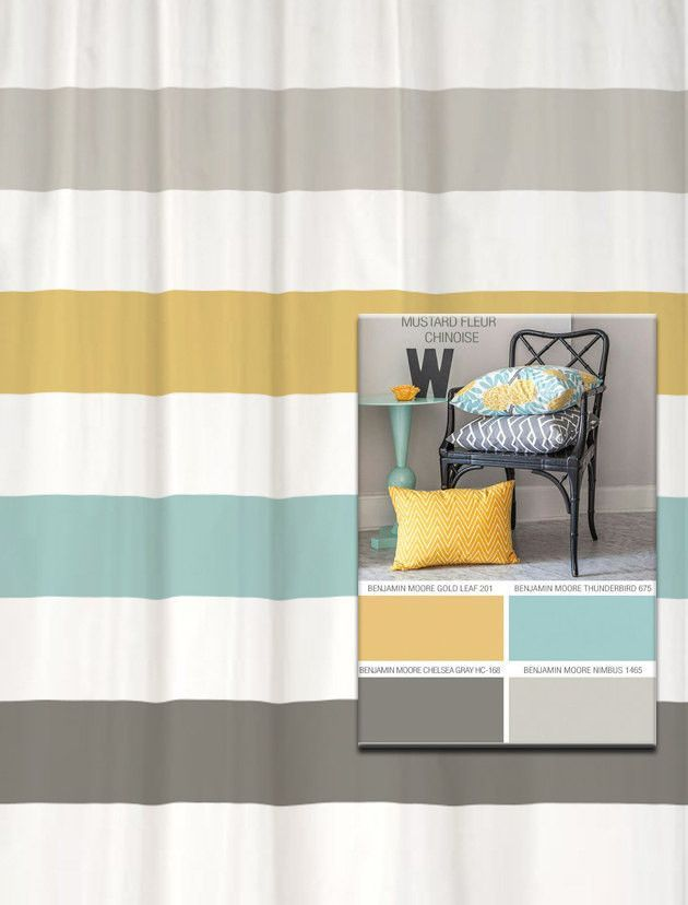 Shower Curtain In Yellow Blue Gray Inspired Stripes