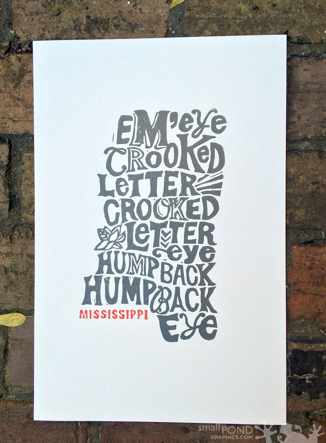 Mississippi crooked letter block print poster lettering charcoal