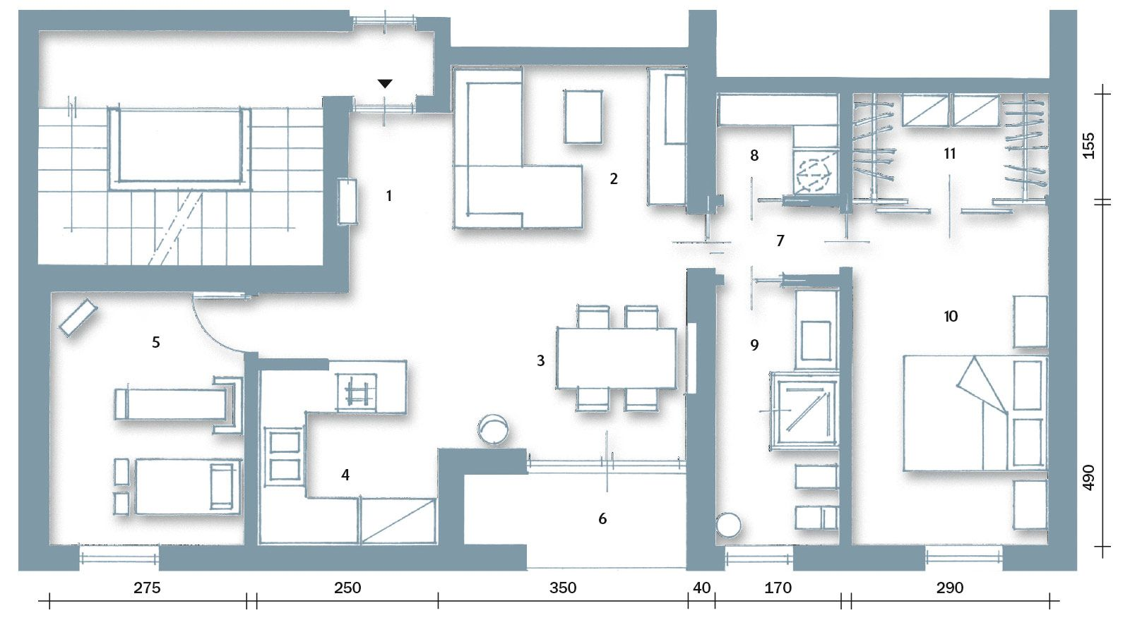 Casa con 10 trucchi 83 mq sembrano pi grandi spazi for Planimetria di cottage calabash