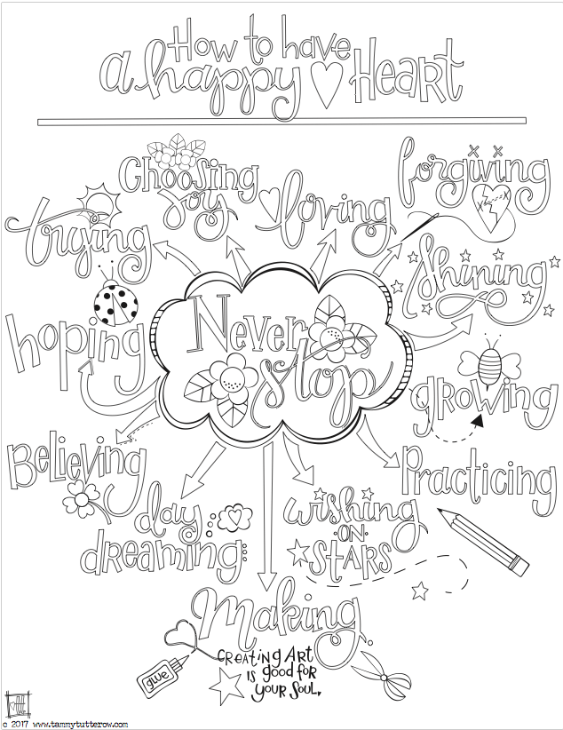 How To Have A Happy Heart Coloring Page PREVIEW