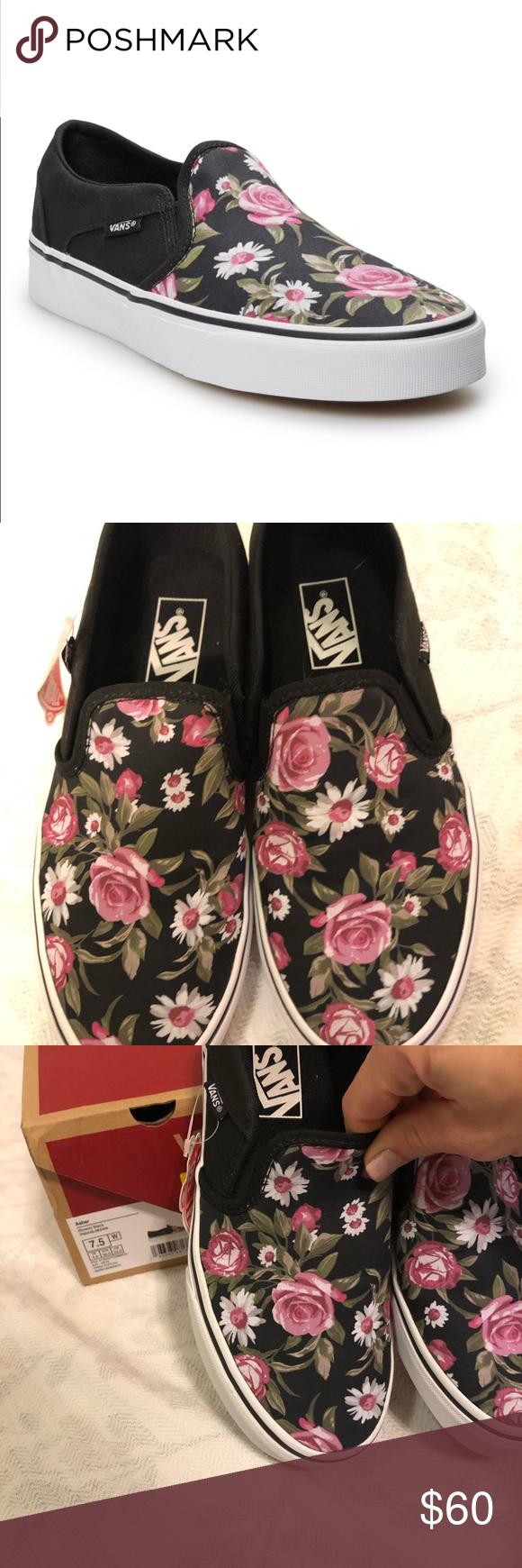 NIB Vans Asher Womens Floral Slate Shoe