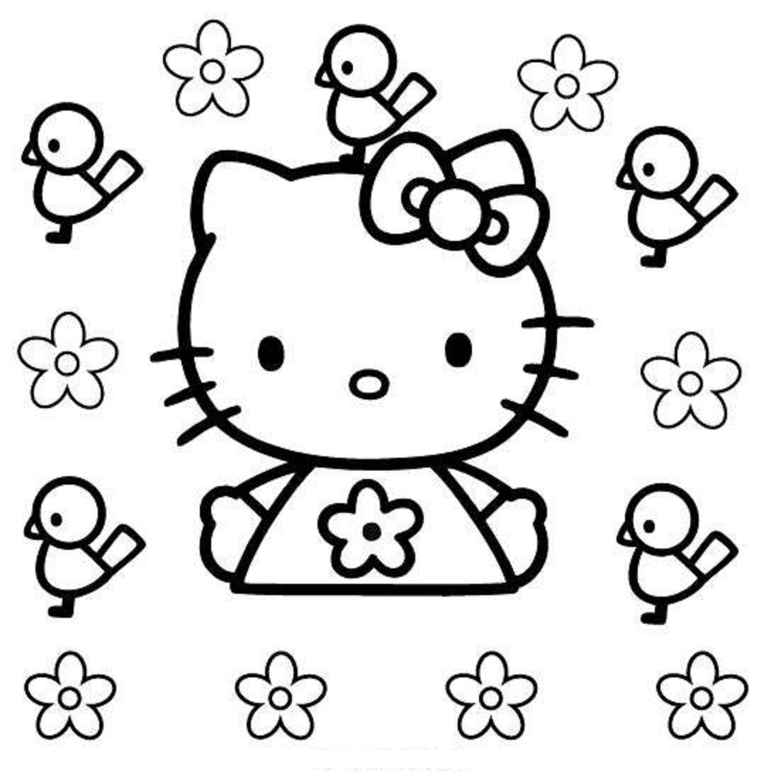 Birds With Flowers Coloring Pages Hello Kitty Birds And Flowers Coloring Pages Sheets Hello Kitty Coloring Hello Kitty Colouring Pages Kitty Coloring