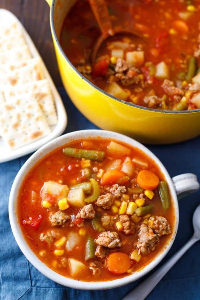 Ground Turkey Vegetable Soup Recipe #groundturkeytacos