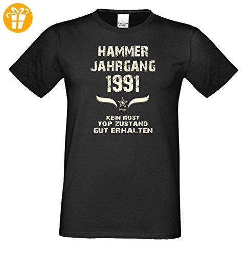 T-Shirt Herren Männer Motiv Hammer Jahrgang 1991 Geschenkidee zum 26.  Geburtstag Geburtsjahr Freizeitlook Farbe: braun Gr: S