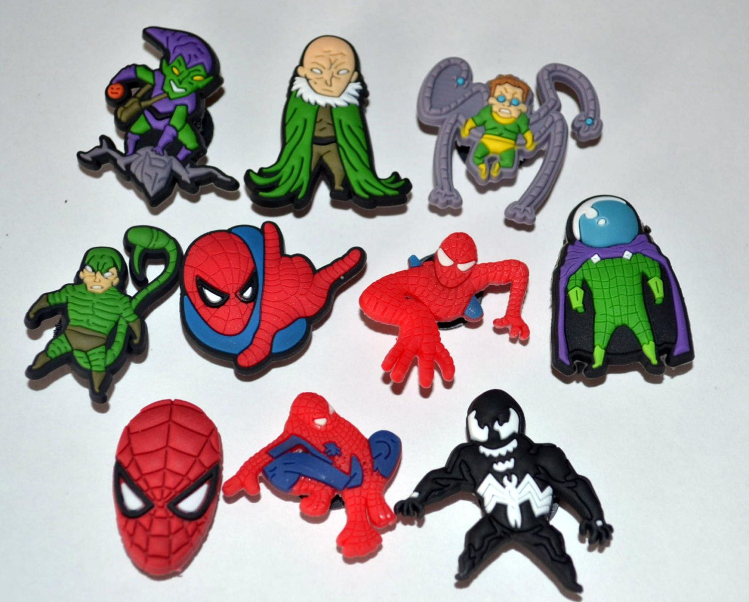 Spiderman Comic Book Villains 10pc Shoe Charms Cake Toppers Birthday Party Pack Locker Magnets Back Birthday Party Packs Spiderman Comic Comic Book Villains