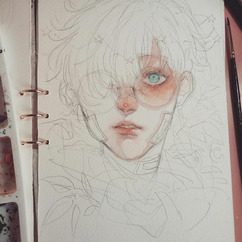 Traditional Art Watercolor Skerchbook Portrait Wip Artphotography Cute Art Character Art Sketches