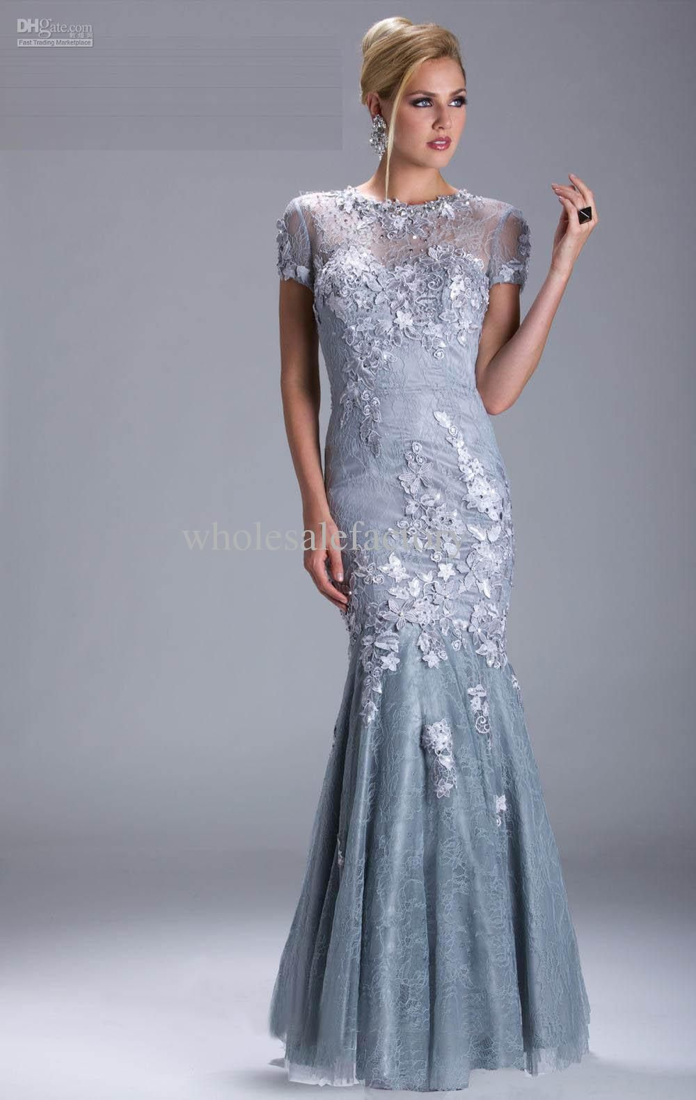 Wholesale Mother of the Bride Dresses - Buy Baby Blue Short Sleeved ...
