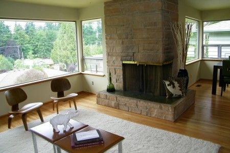 Mid Century Modern Living Room With Fireplace mid century modern fireplaces | living room with corner stone